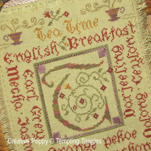 Tempting Tangles - Tea Time zoom 1 (cross stitch chart)