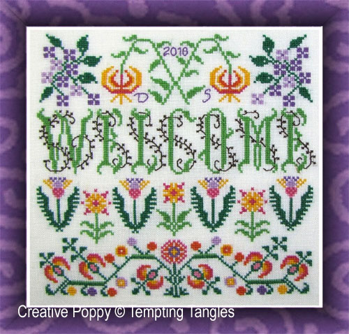 Welcome Blooming Borders cross stitch pattern by Tempting Tangles