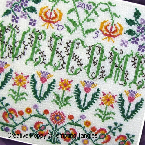 Welcome Blooming Borders cross stitch pattern by Tempting Tangles, zoom 1