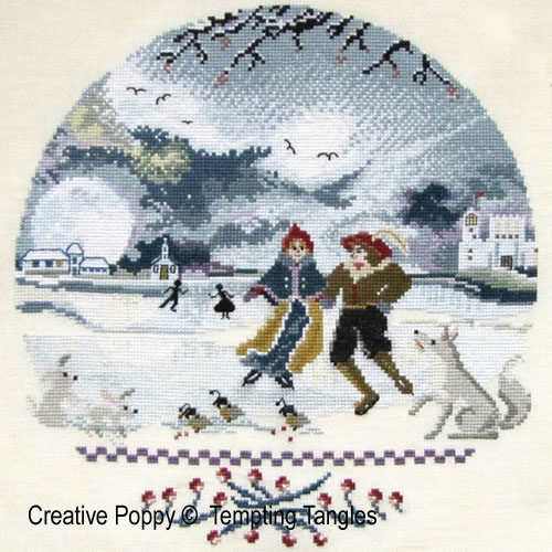 Wintery Moon cross stitch pattern by Tempting Tangles