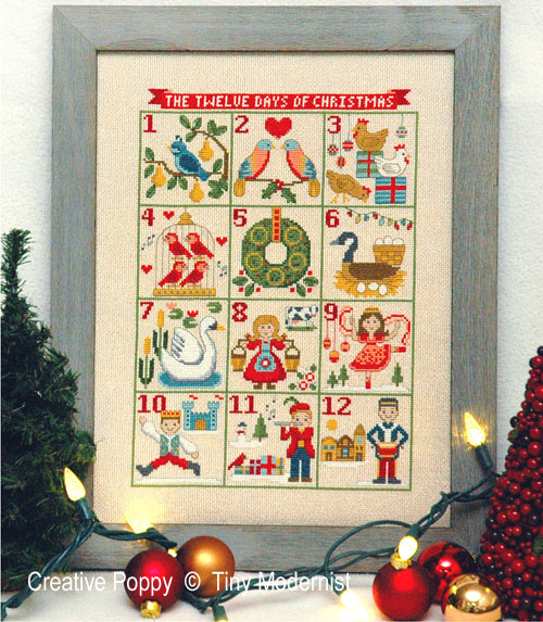 12 Days of Christmas cross stitch pattern by Tiny Modernist