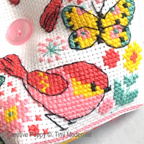 Butterfly Biscornu cross stitch pattern by Tiny Modernist, zoom 1