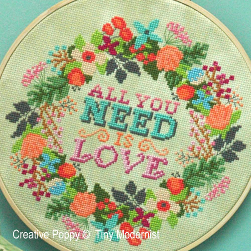 All you need cross stitch pattern by Tiny Modernist
