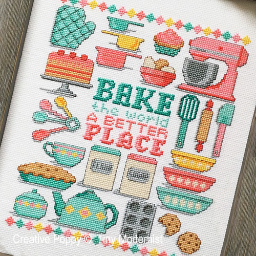 Bake the world cross stitch pattern by Tiny Modernist