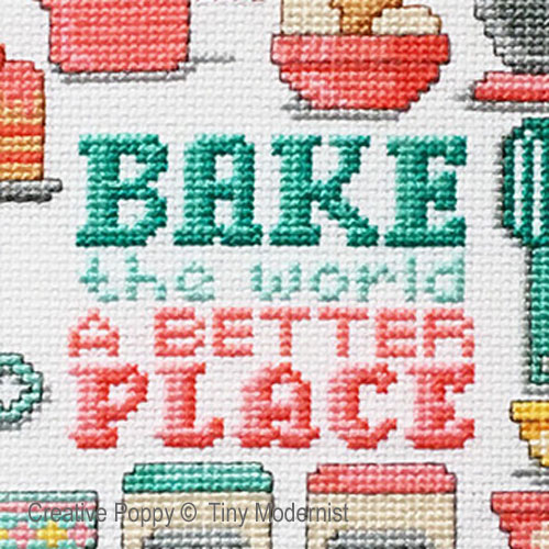 Bake the world cross stitch pattern by Tiny Modernist, zoom 1