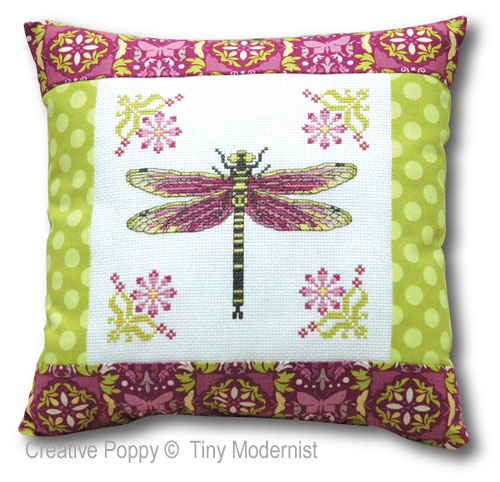 Dragonfly Pillow cross stitch pattern by Tiny Modernist