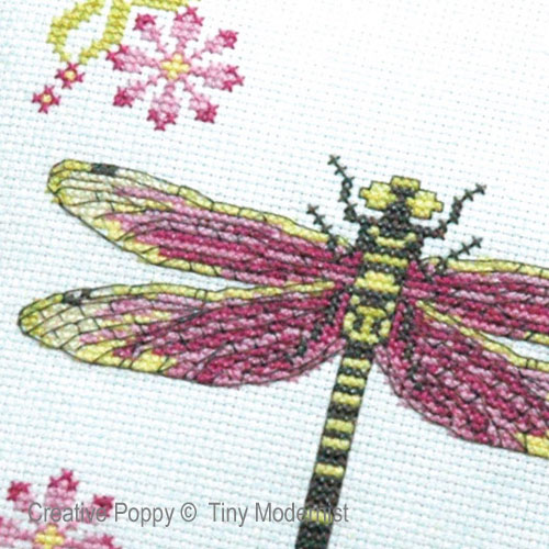 Dragonfly Pillow cross stitch pattern by Tiny Modernist, zoom 1