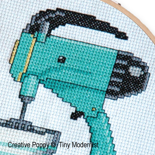 Retro Kitchen Mixer cross stitch pattern by Tiny Modernist, zoom 1