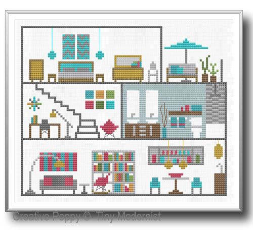 Tiny Modernist - Modern Dollhouse (cross stitch chart)