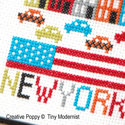 New York cross stitch pattern by Tiny Modernist, zoom 1