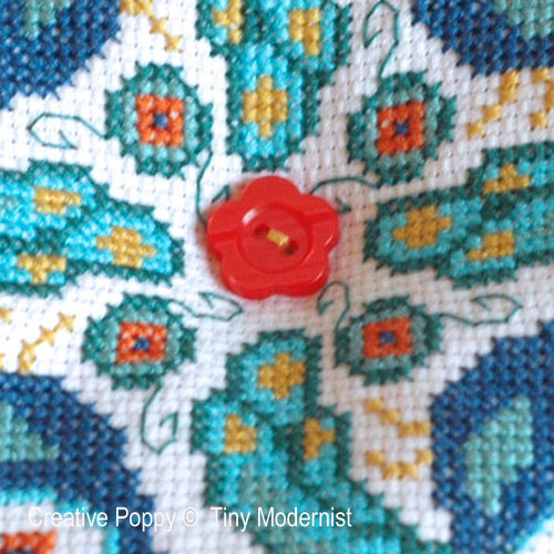 Peacock biscornu cross stitch pattern by Tiny Modernist, zoom 1