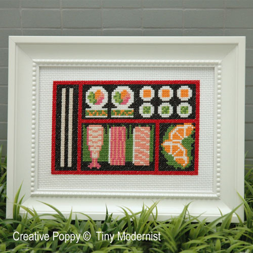 Sushi Bento Box cross stitch pattern by Tiny Modernist