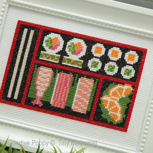 Sushi Bento Box cross stitch pattern by Tiny Modernist, zoom 1