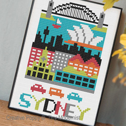 Sydney cross stitch pattern by Tiny Modernist
