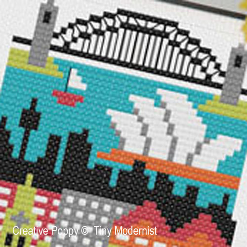 Sydney cross stitch pattern by Tiny Modernist, zoom 1