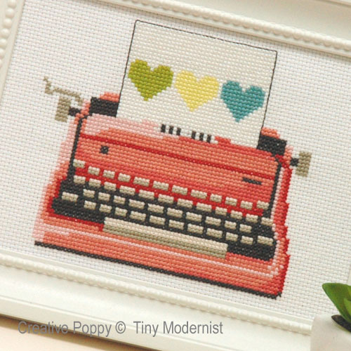 Pink Typewriter cross stitch pattern by Tiny Modernist