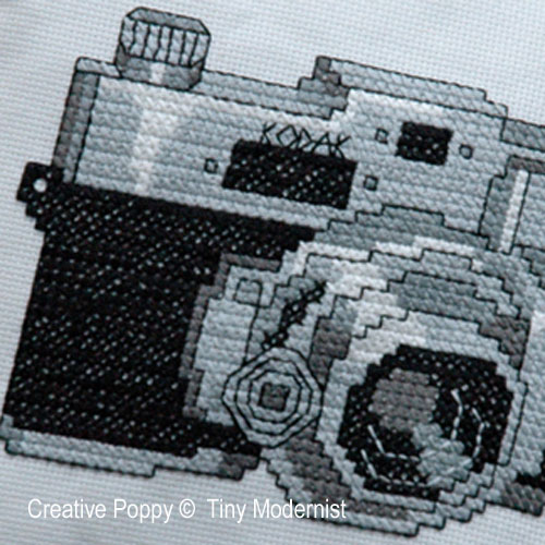 Vintage camera cross stitch pattern by Tiny Modernist