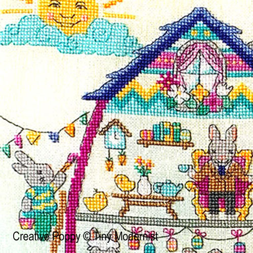 Easter bunny house cross stitch pattern by Tiny Modernist, zoom 1
