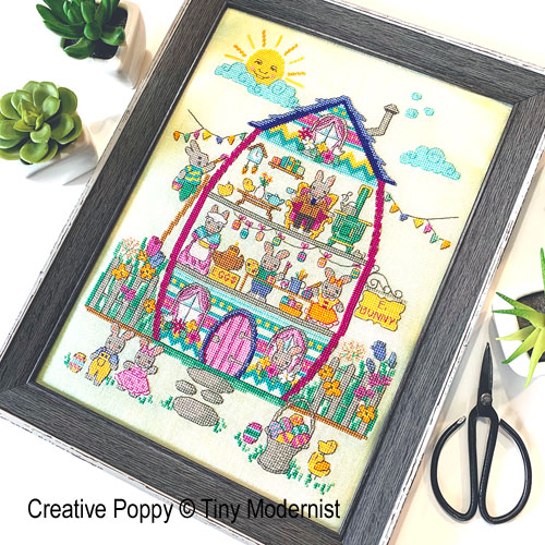 Easter bunny house cross stitch pattern by Tiny Modernist