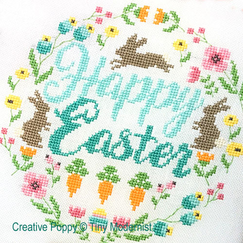 Easter Wreath cross stitch pattern by Tiny Modernist