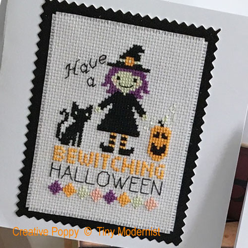 Halloween Greetings cross stitch pattern by Tiny Modernist, zoom 1