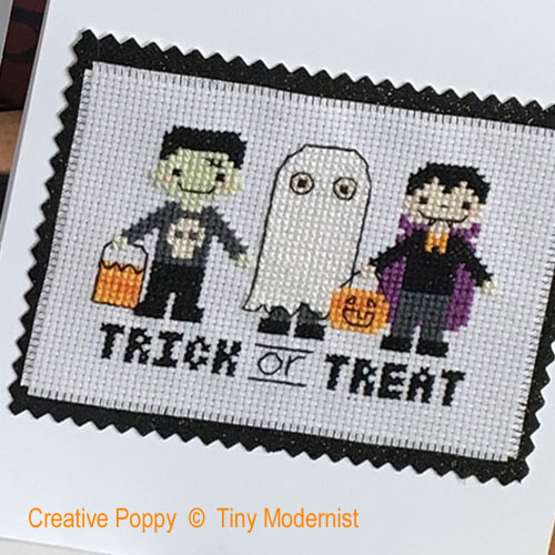 Tiny Modernist - Halloween Greetings zoom 1 (cross stitch chart)