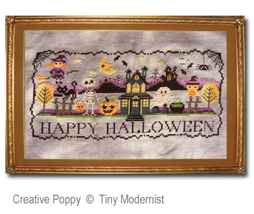 Happy Halloween Sunset cross stitch pattern by Tiny Modernist