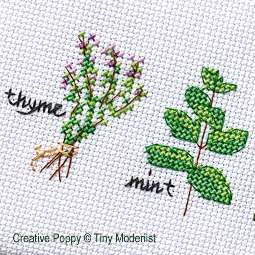 Herb Pots cross stitch pattern by Tiny Modernist, zoom 1