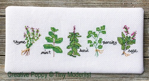 Herb Pots cross stitch pattern by Tiny Modernist