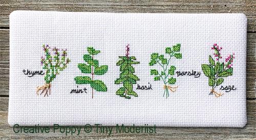 Herb Pots cross stitch pattern by Tiny Modernist