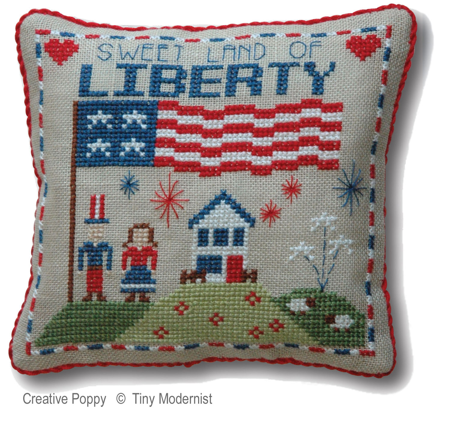 Liberty Pillow cross stitch pattern by Tiny Modernist