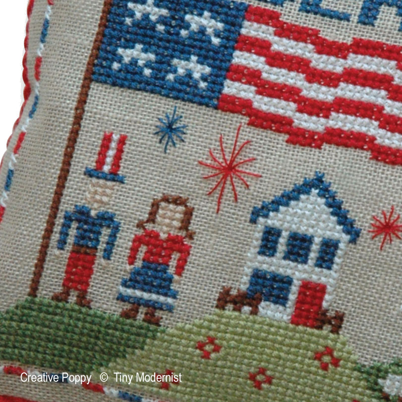Liberty Pillow cross stitch pattern by Tiny Modernist, zoom 1