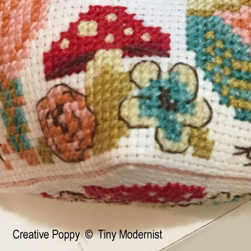 Tiny Modernist - Mushroom Biscornu zoom 1 (cross stitch chart)