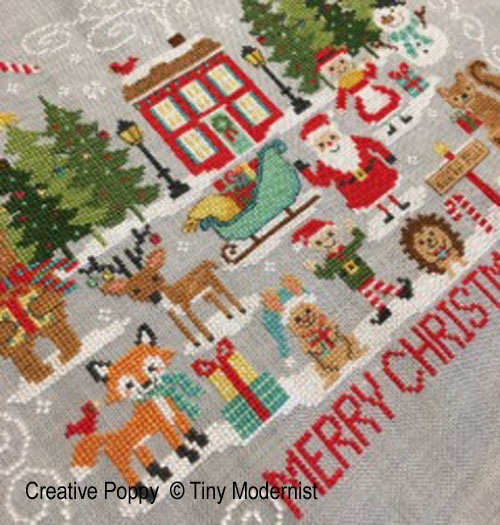Red House Merry Christmas cross stitch pattern by Tiny Modernist, zoom 1