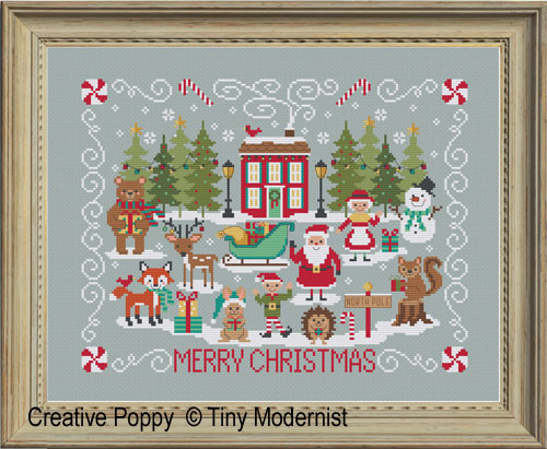 Red House Merry Christmas cross stitch pattern by Tiny Modernist