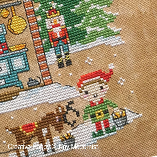 Santa's House cross stitch pattern by Tiny Modernist, zoom2