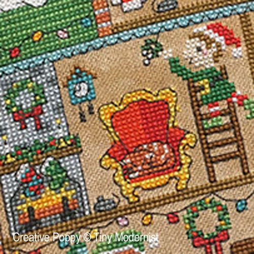 Santa's House cross stitch pattern by Tiny Modernist, zoom4