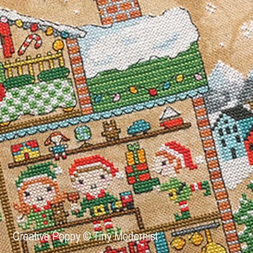 Santa's House cross stitch pattern by Tiny Modernist, zoom2