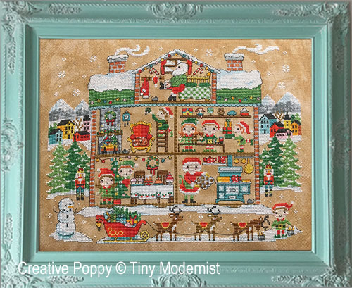 Santa's House cross stitch pattern by Tiny Modernist