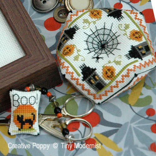Spooky Halloween Trio cross stitch pattern by Tiny Modernist, zoom 1