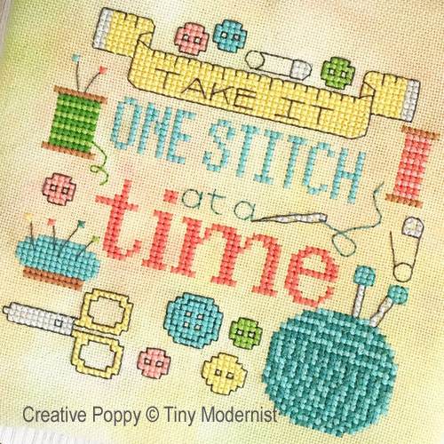 One Stitch at a Time cross stitch pattern by Tiny Modernist, zoom 1