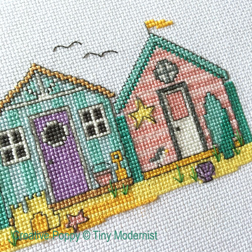 Summer Beach Huts cross stitch pattern by Tiny Modernist, zoom 1
