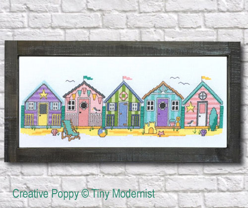 Summer Beach Huts cross stitch pattern by Tiny Modernist