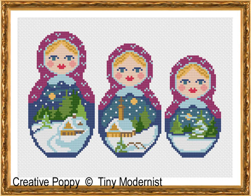 Winter Matryoshka cross stitch pattern by Tiny Modernist