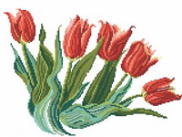 An armful of red tulips, cross stitch design by Monique Bonnin.