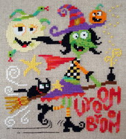 Vroom Broom - cross stitch pattern - by Barbara Ana Designs